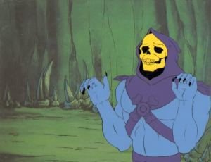 He-Man production cel featuring villain Skeletor.  From Animation Valley.  Click image for source, which has cels available for purchase.