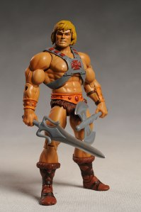 An action figure of He-Man from the relaunch of the Masters of the Universe series.  Image from Captain Toy - click image for source and accompanying review.