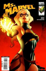 "Previous cover of ""Ms. Marvel"" featuring Carol Danvers' glorified swimsuit costume."