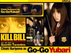 Chiaki Kuriyama as Go-Go Yubari in a Kill Bill Japan promotion.